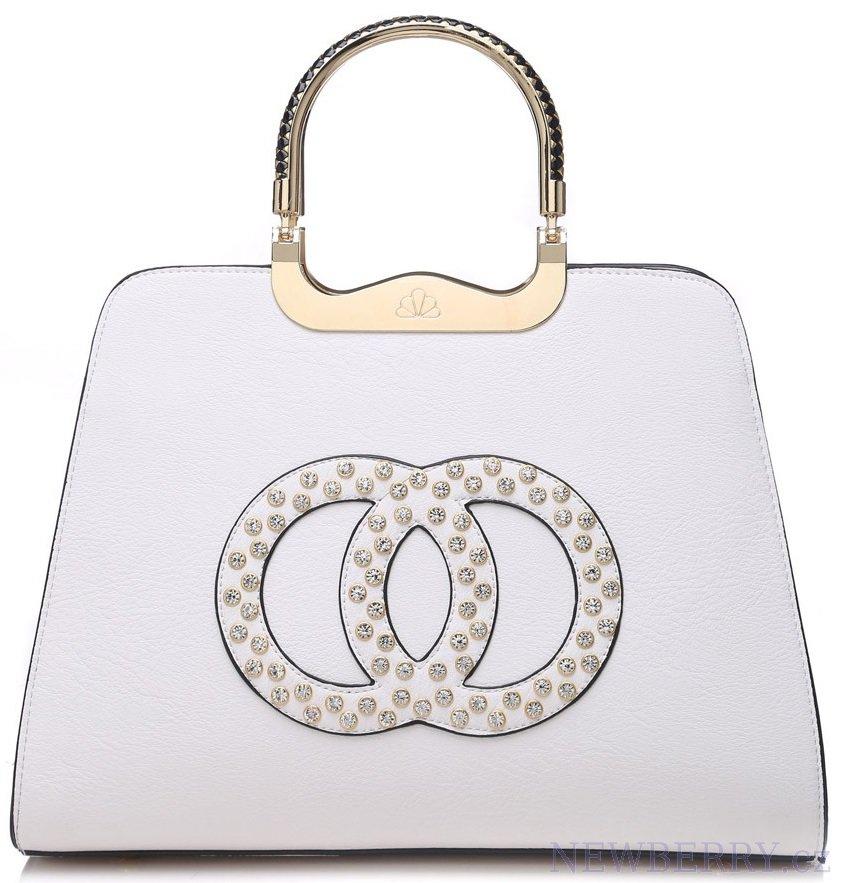 Módní bílá kabelka s ozdobnými kruhy K2628