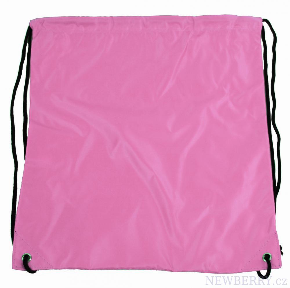 Pytlík do tělocviku / na cvičky jednobarevný stahovatelný světle růžový 3H02