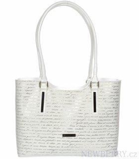Bílá měkká elegantní kabelka se stříbrným potiskem písmen S729 GROSSO c798b6a6f6