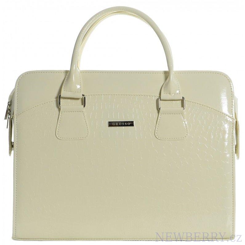 """Dámská luxusní taška na notebook béžový lak kroko ST01 15.6"""" GROSSO"""