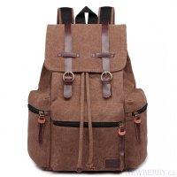 32e404a69 KONO veľký tmavo hnedý multifunkčný batoh s koženými doplnkami UNISEX