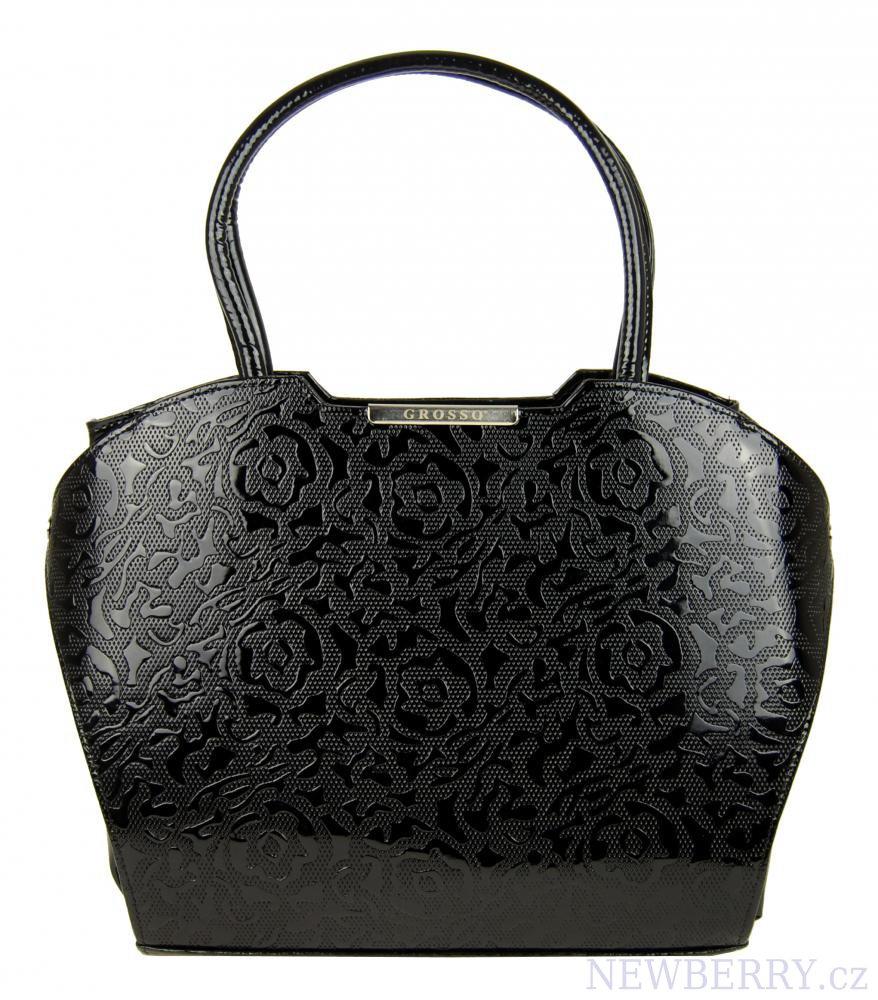 Černá lakovaná kabelka s potiskem růží S467 GROSSO