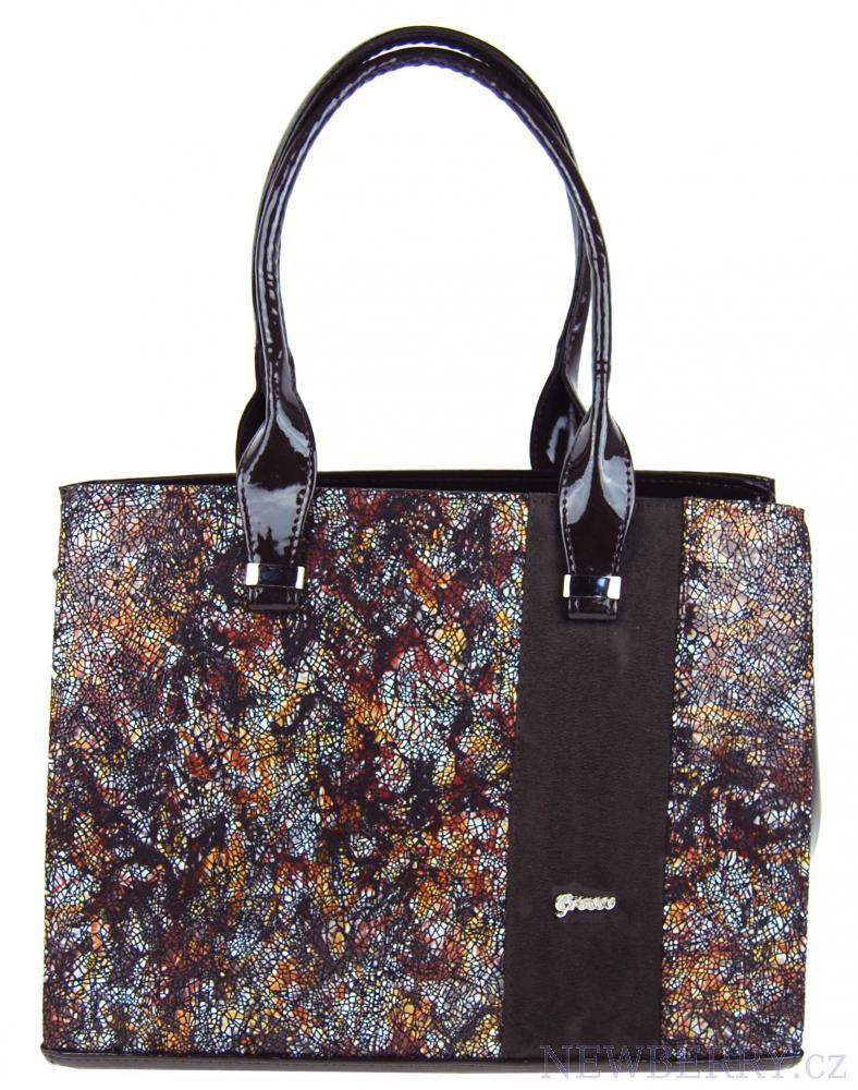 Hnědá hranatá kabelka s mozaikou S499 GROSSO