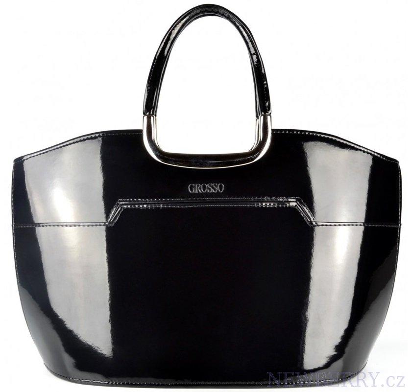 Elegantní kabelka S5 černý nero lak GROSSO