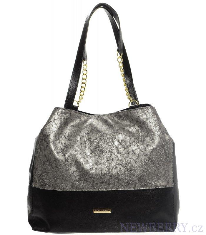 Stříbrno-černá patinovaná kabelka s řetízky S611 GROSSO