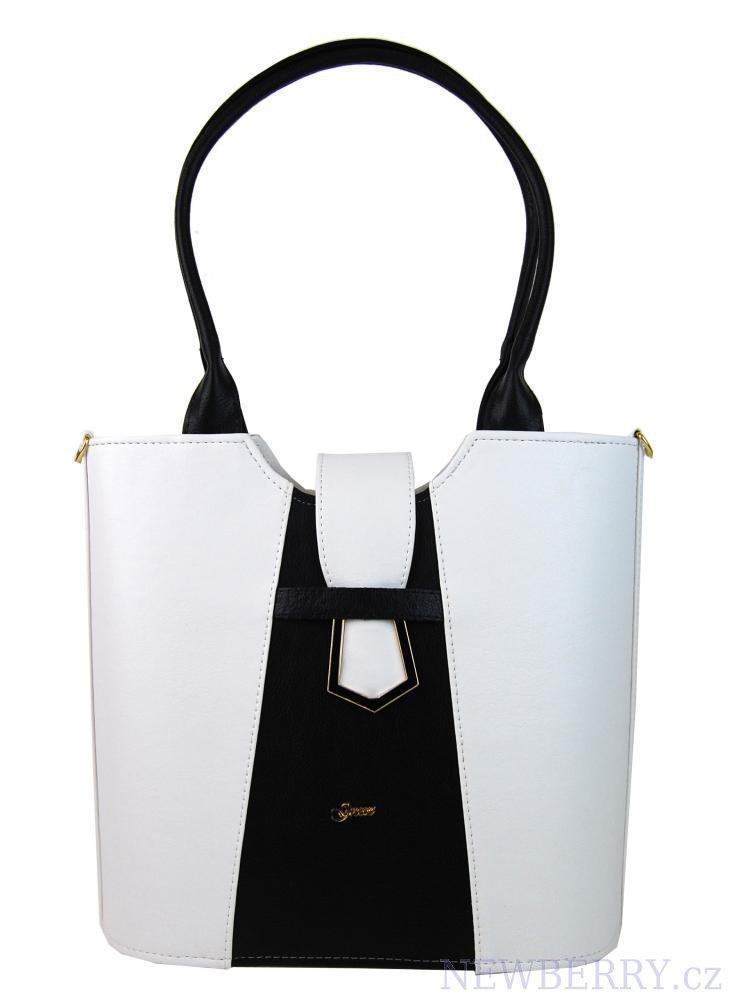 Bílo-černá elegantní kabelka přes rameno S680 GROSSO