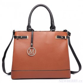b5c8efee221 Hnědá moderní business kabelka Miss Lulu   NEWBERRY - velkoobchod ...