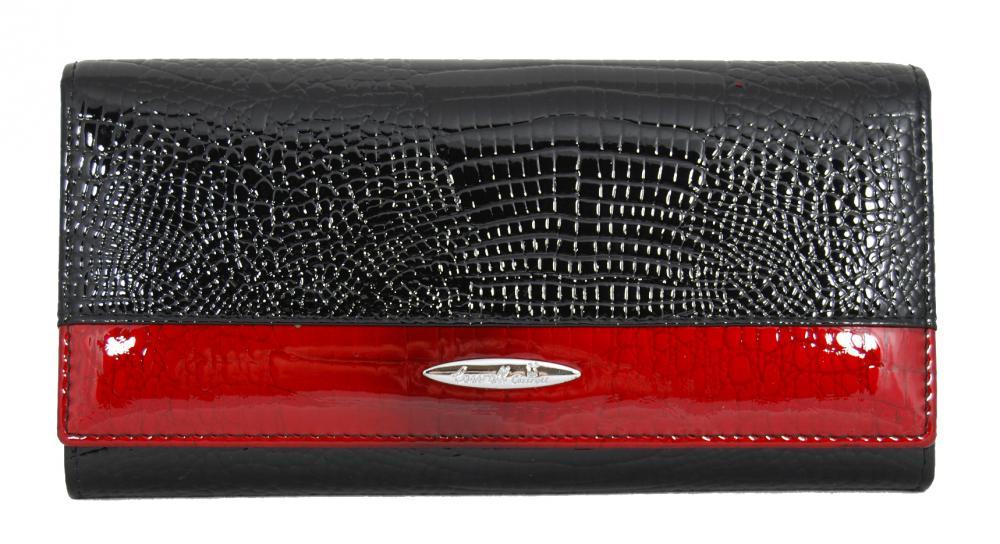 Dámska kroko kožená peňaženka v krabičke Cossroll 01-5242 čierno-červená