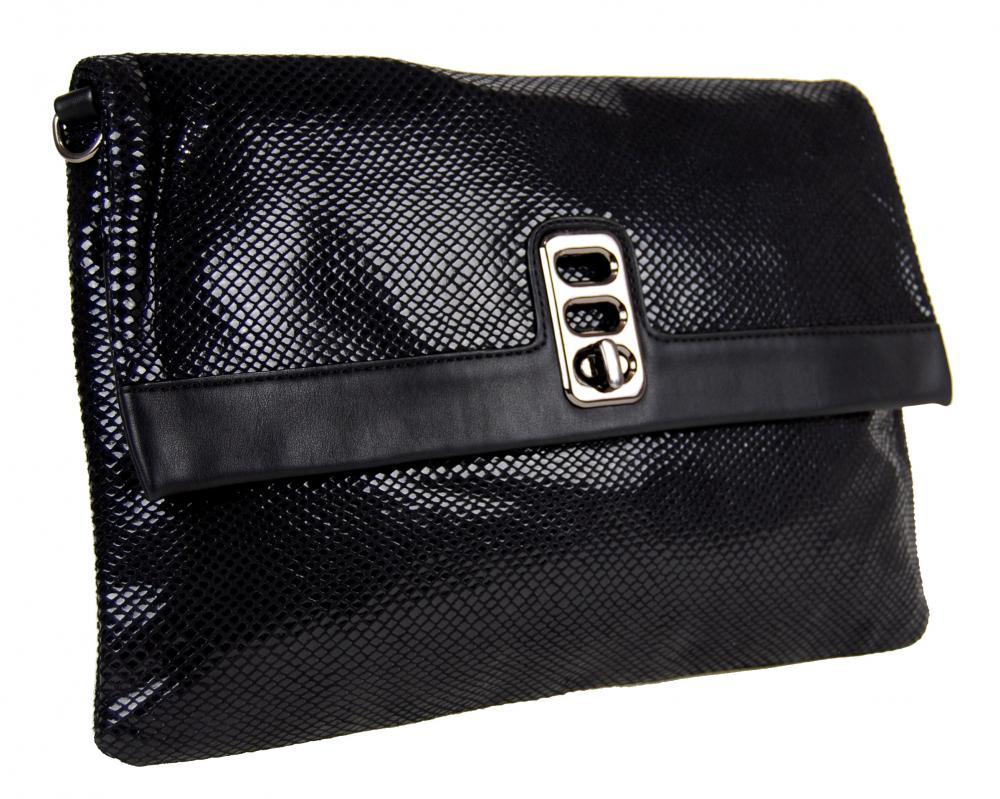 Čierna hadia kombinovaná kabelka 1227-BB