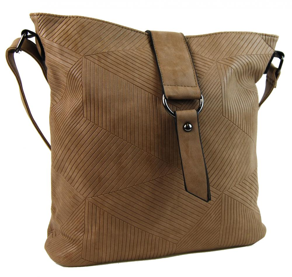Dámska crossbody kabelka z brúsenej kože 1238-3 piesková hnedá