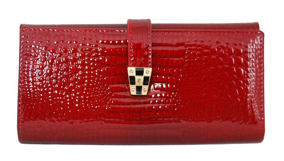 Dámska kroko kožená peňaženka v krabičke Cossroll 03-5242-1 červená