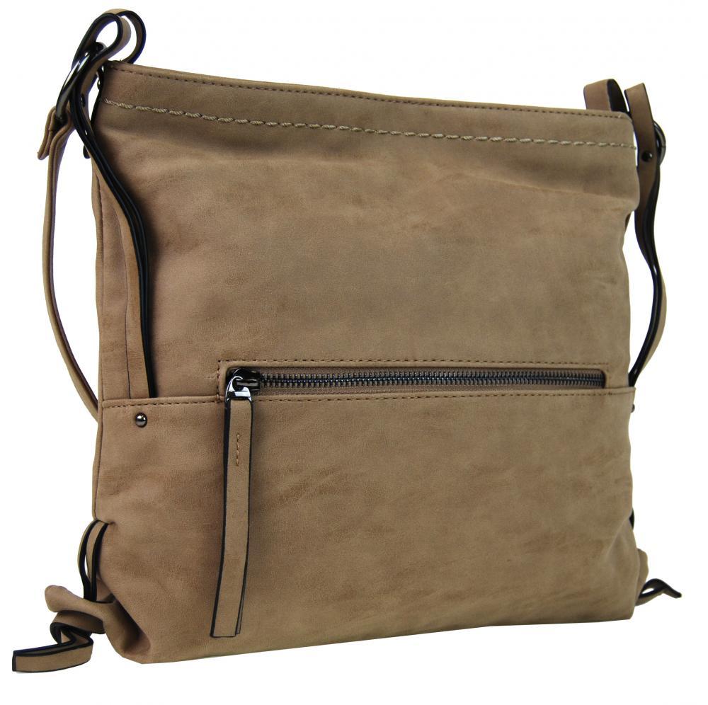 Dámska crossbody kabelka z brúsenej kože 165B-6 piesková hnedá