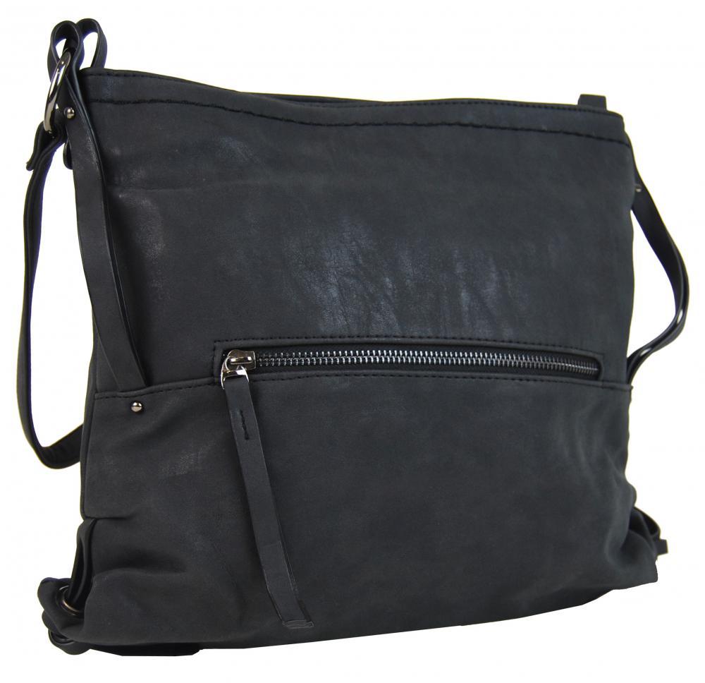 Dámska crossbody kabelka z brúsenej kože 165B-6 nová čierná