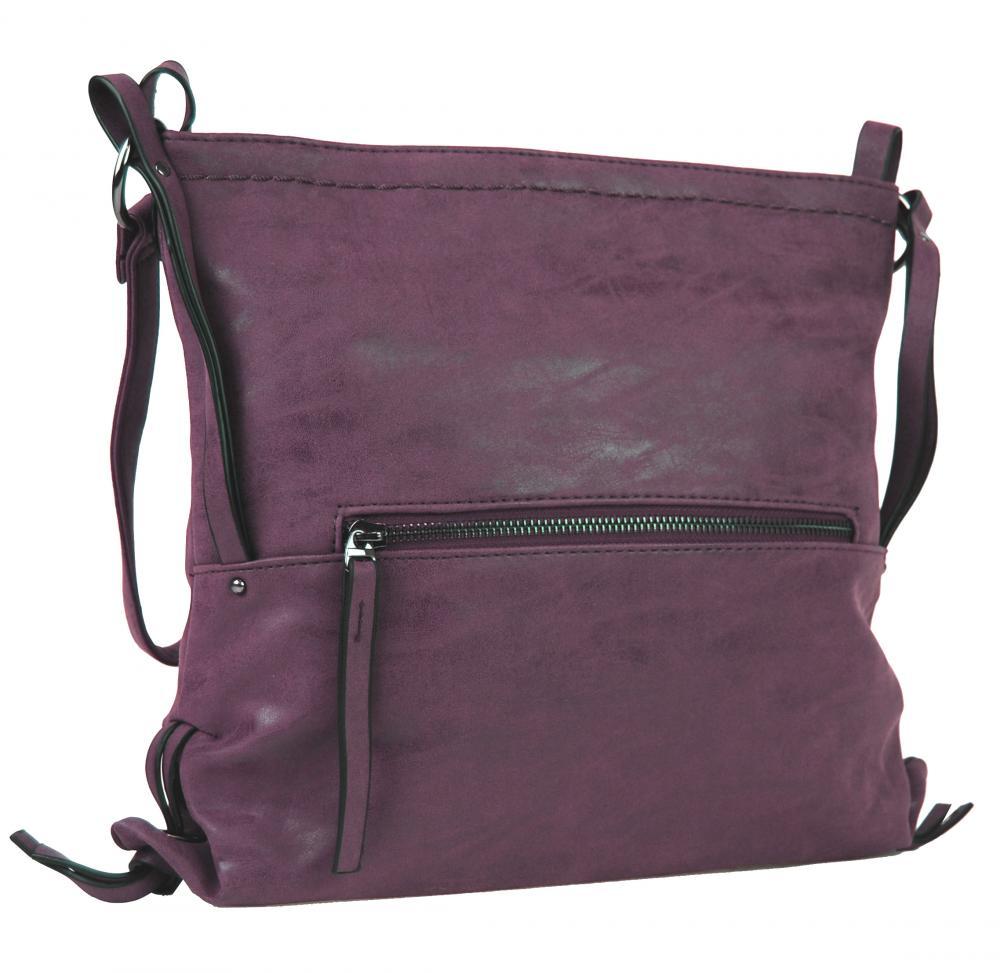 Dámska crossbody kabelka z brúsenej kože 165B-6 vínová