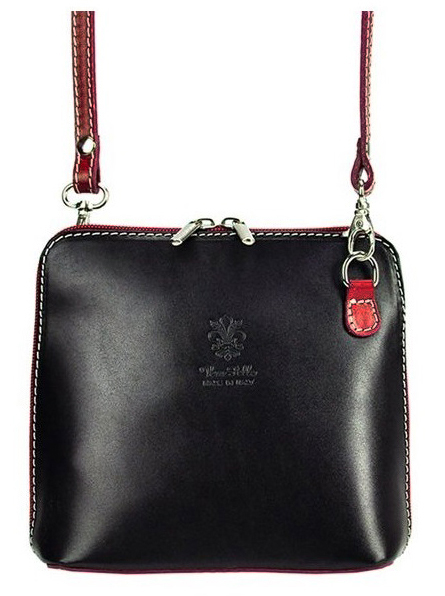Kožená malá dámská crossbody kabelka černo-bordová