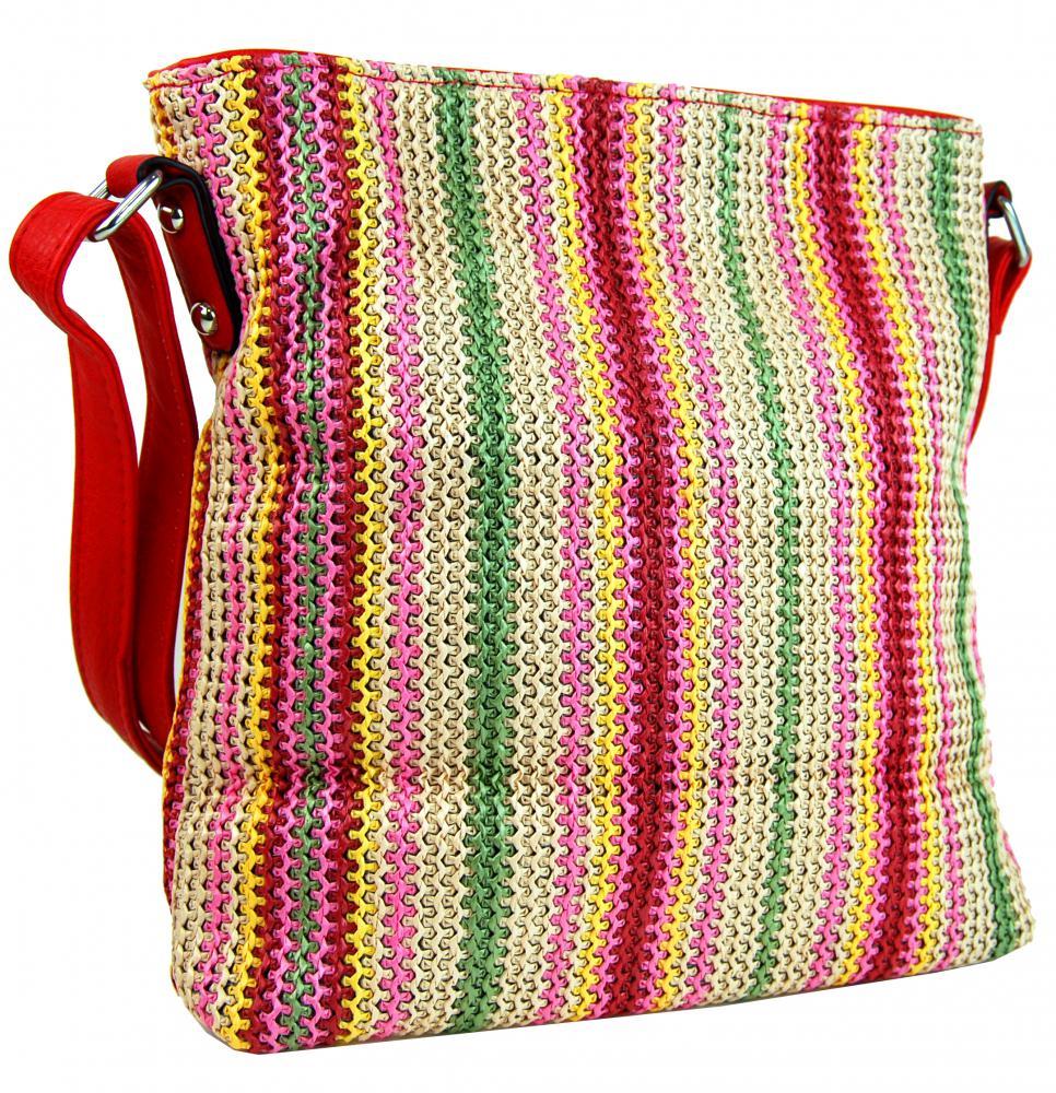 Červená pruhovaná textilná crossbody kabelka T2050