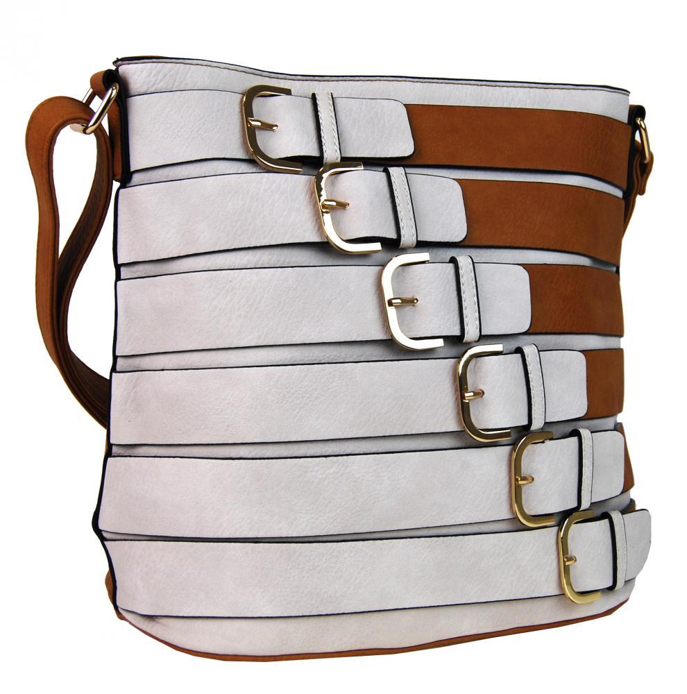 Moderná crossbody kabelka so zlatými prackami 2124-BB hnedá empty 0db41a7b24e