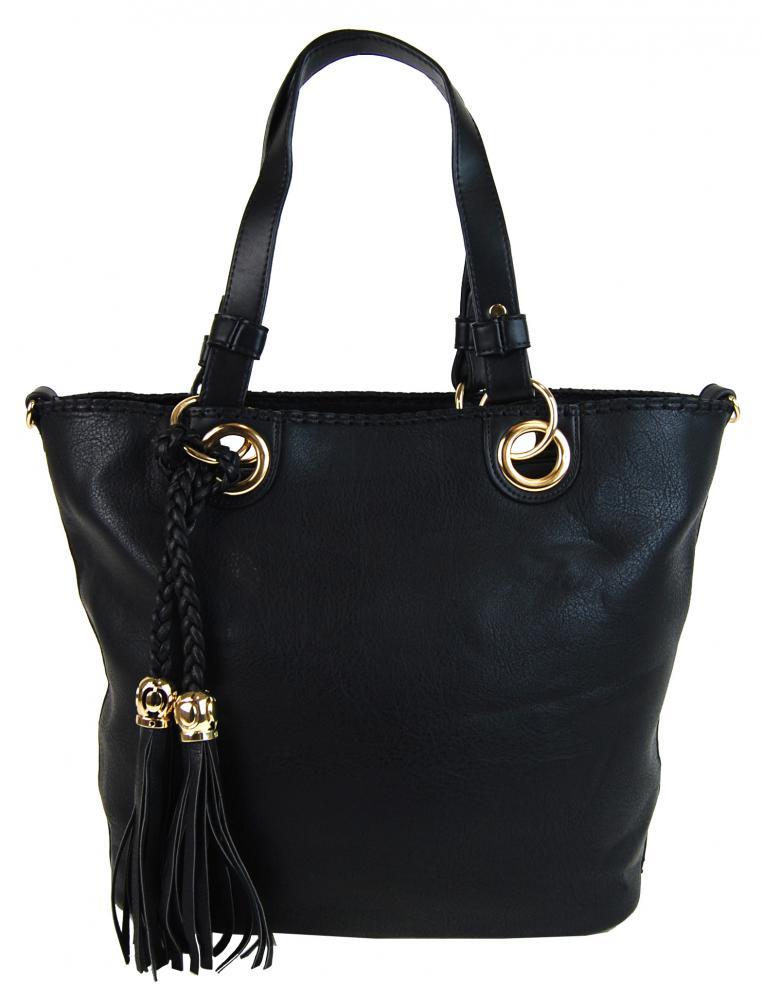 Elegantná kabelka na rameno so zlatými doplnkami 2181-BB čierna