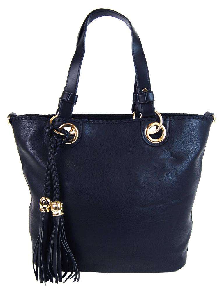 Elegantná kabelka na rameno so zlatými doplnkami 2181-BB tmavo modrá