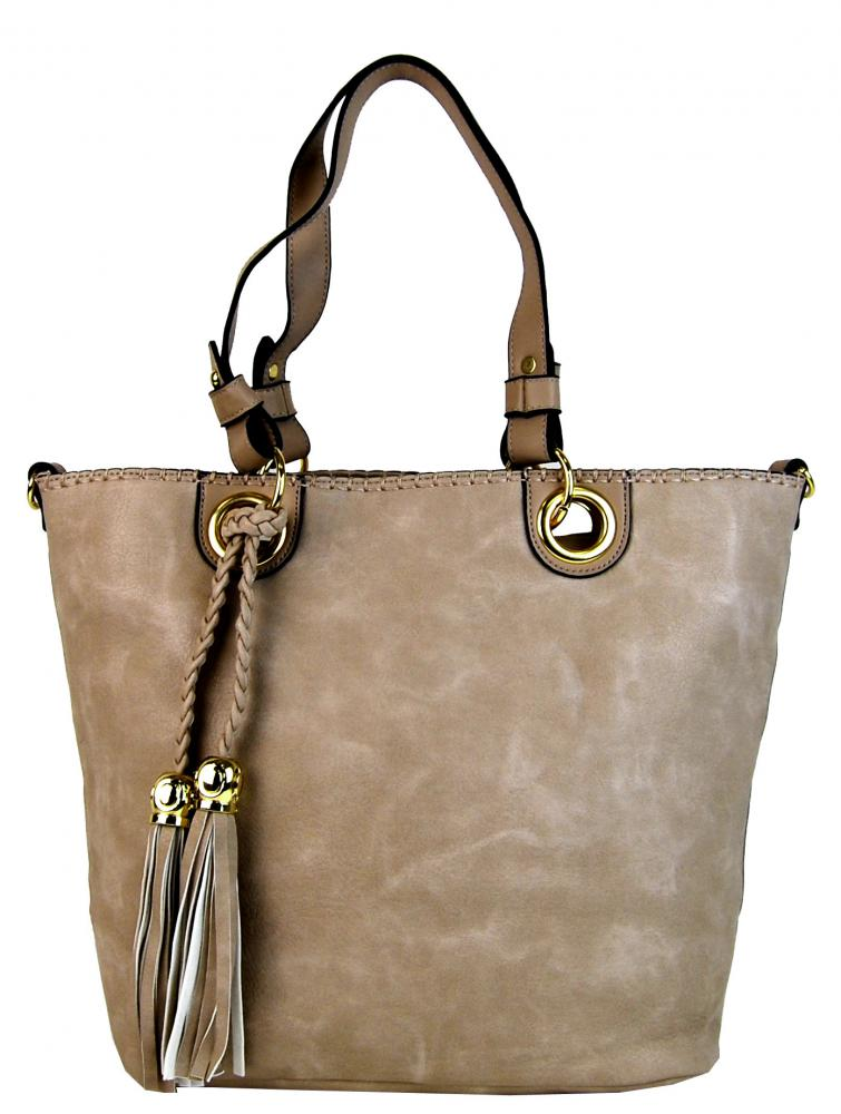 Elegantná kabelka na rameno so zlatými doplnkami 2181-BB prírodná hnedá