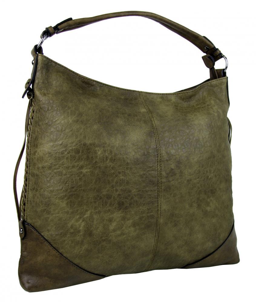 Zelená dámska kabelka na rameno v jemnom kroko dizajne 2456-BB