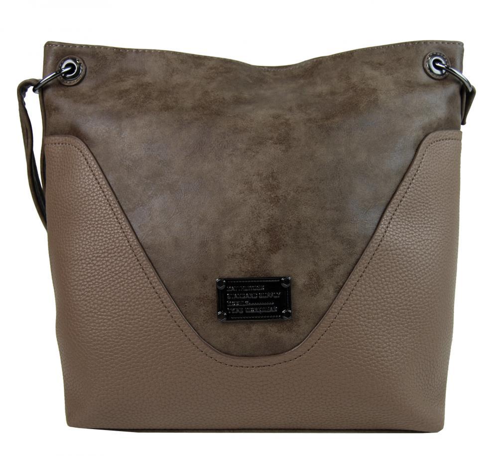 Veľká dámska crossbody kabelka 2467-BB ílová hnedá