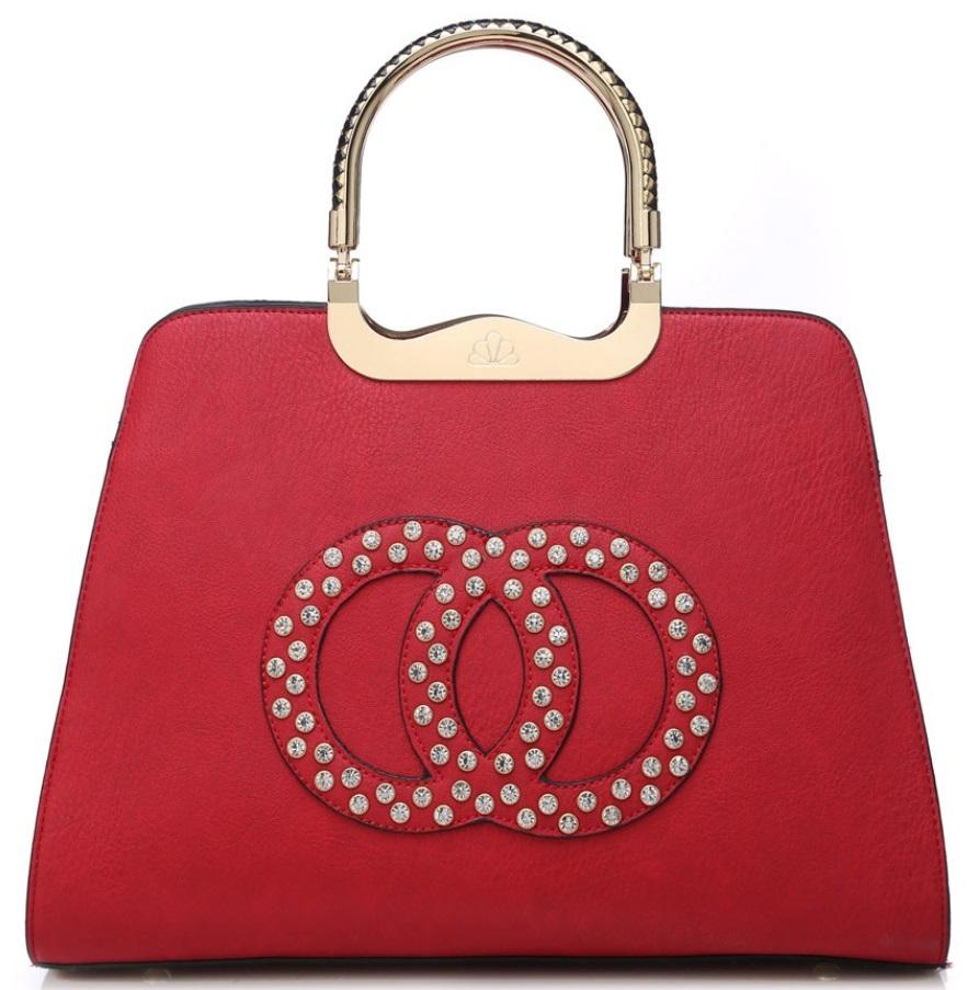 Módna červená kabelka s ozdobnými kruhmi K2628