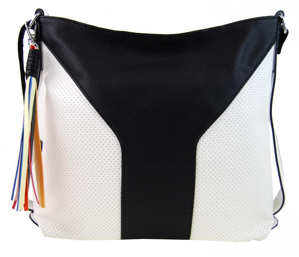 Veľká dámska crossbody kabelka 2949-MM čierno-biela