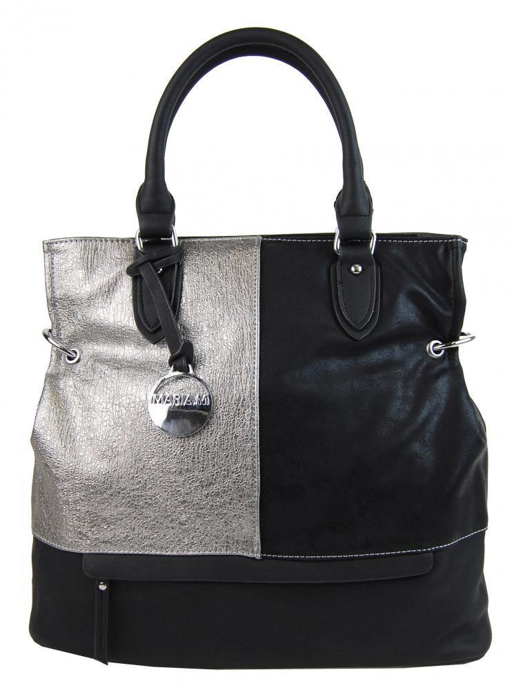 Módna čierna kabelka s rytým striebrom 2992-MM