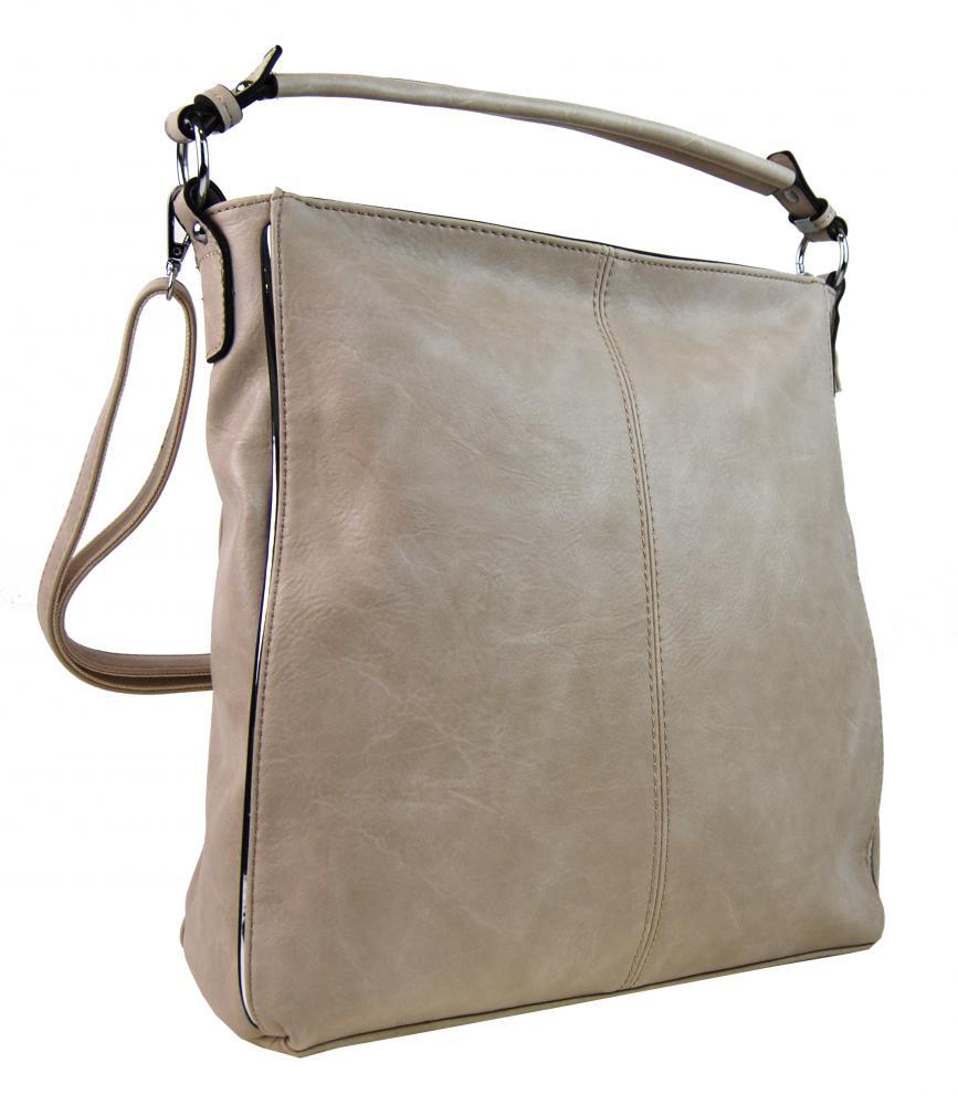 Moderná béžová dámska kombinovaná kabelka so striebornou linkou 3067-DE