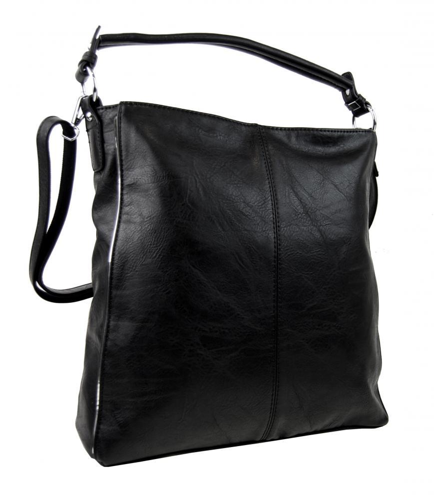 Moderná čierna dámska kombinovaná kabelka so striebornou linkou 3067-DE