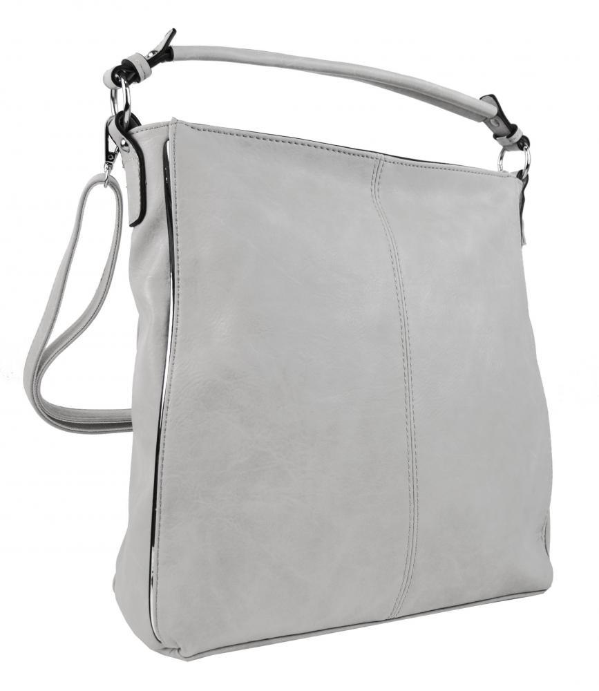 Moderná biela dámska kombinovaná kabelka so striebornou linkou 3067-DE