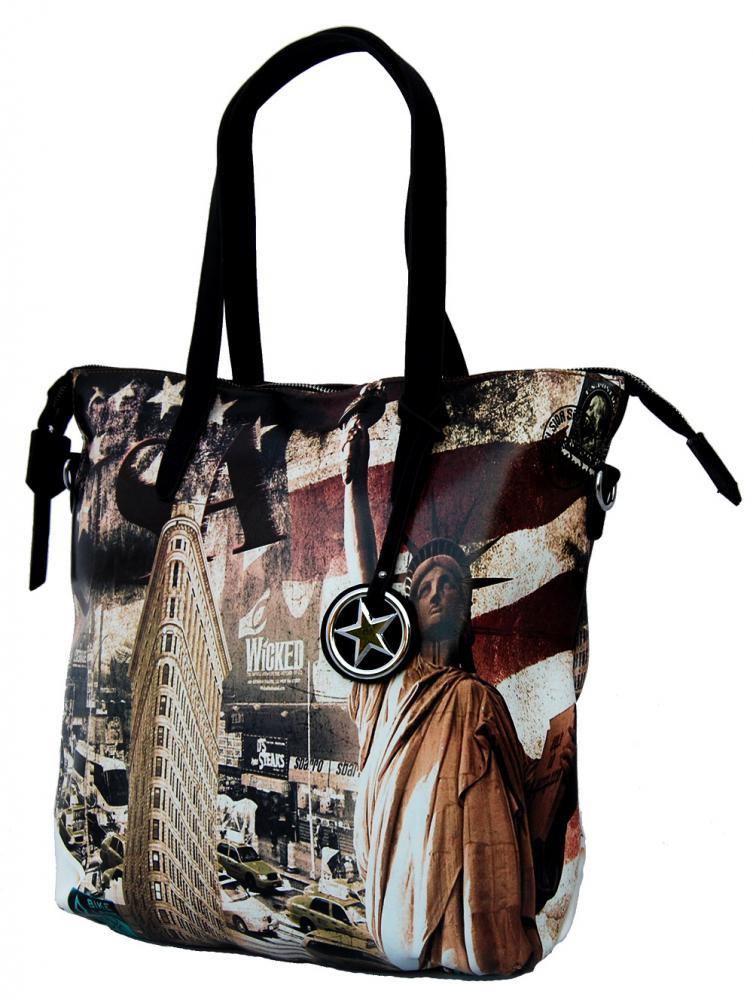 Štýlová veľká kabelka na rameno 404-BB čierna