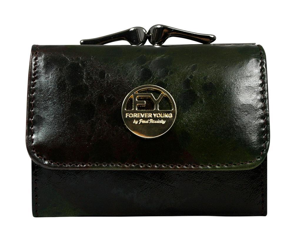Tmavá hnědo-zelená malá dámská kožená peněženka v krabičce Forever Young