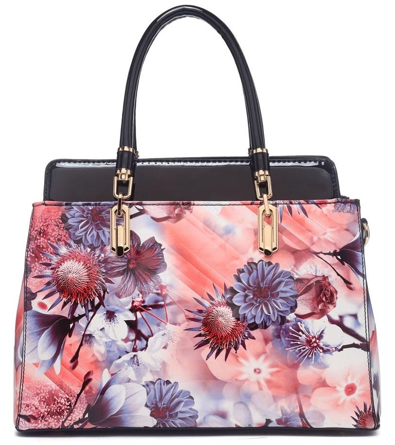 Moderní lakovaná kabelka s květy 6002 černá