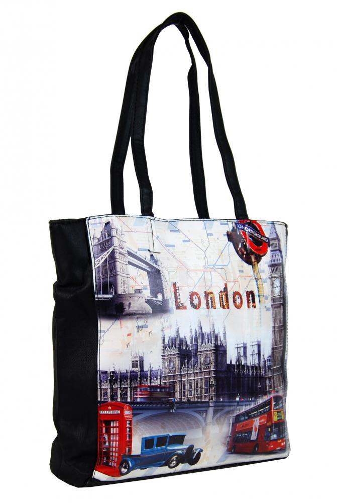 Dámska kabelka na rameno s motívom Londýna 60694 čierna
