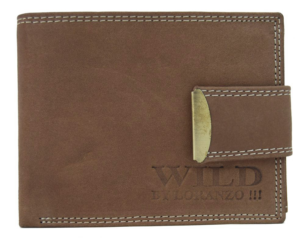Hnědá pánská peněženka z broušené kůže WILD 964