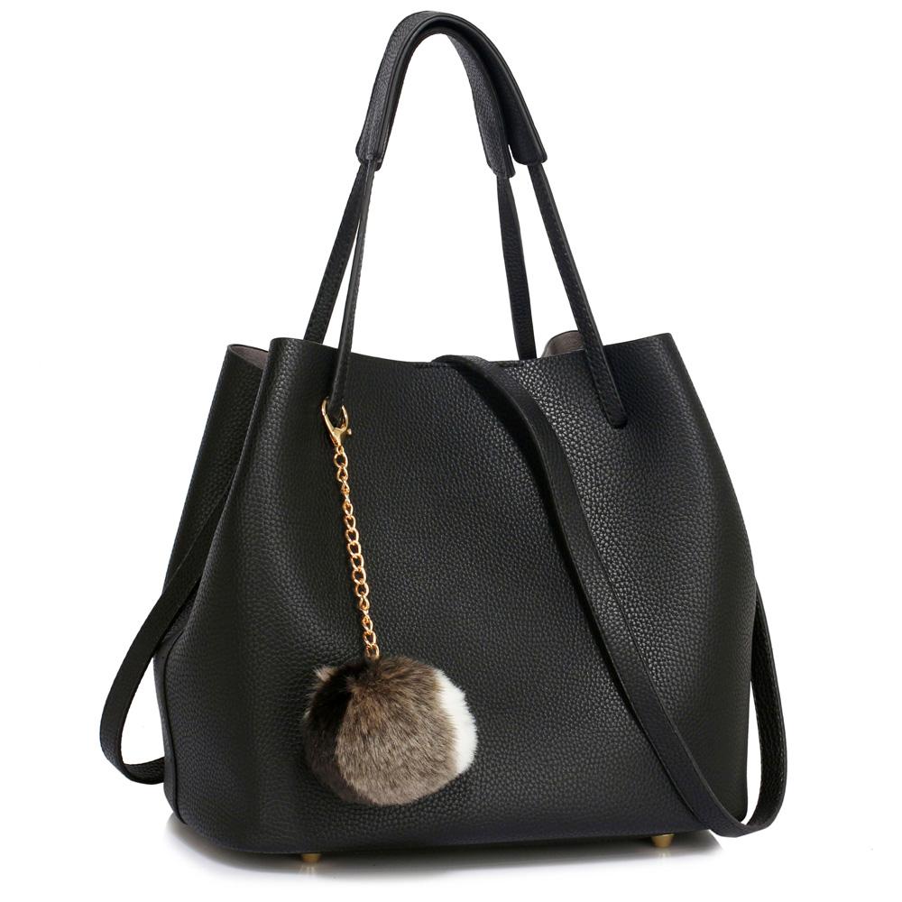 LS Fashion moderní černá dámská Hobo kabelka s kožešinovou ozdobou