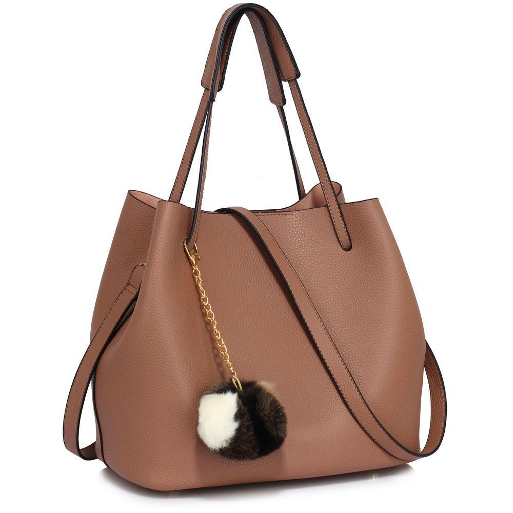 LS Fashion moderní hnědá dámská Hobo kabelka s kožešinovou ozdobou