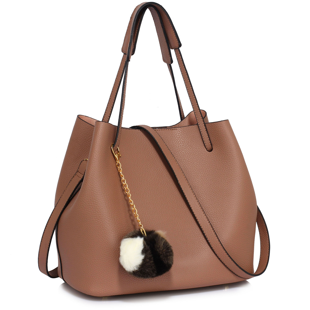 LS Fashion moderná hnedá dámska Hobo kabelka s kožušinovou výzdobou