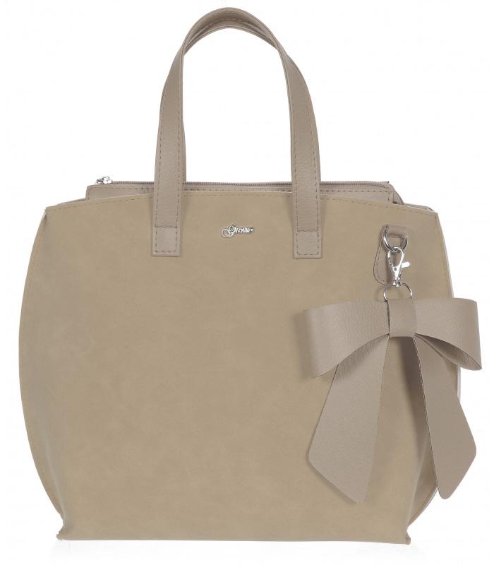 Béžová dámska kabelka s mašľou S739 GROSSO