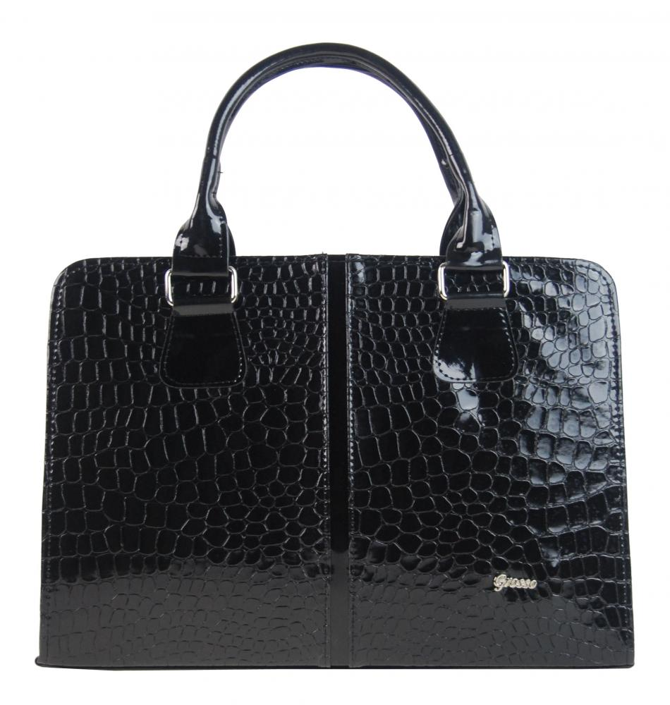 Luxusní černá dámská aktovka v krokodýlí kůži S484 GROSSO