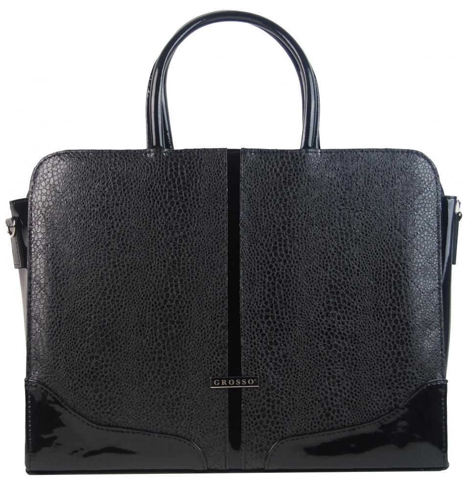 """Elegantní dámská aktovka / taška na notebook 15.6"""" v černé hadí kůži ST03 GROSSO"""