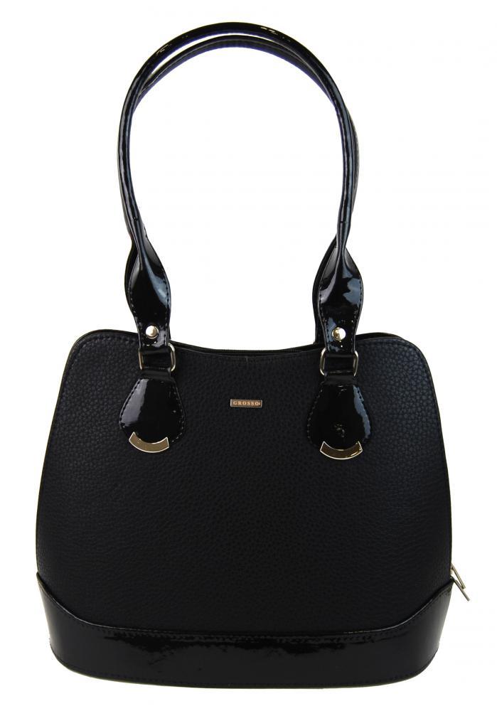Menší černá matná kabelka přes rameno S634 GROSSO