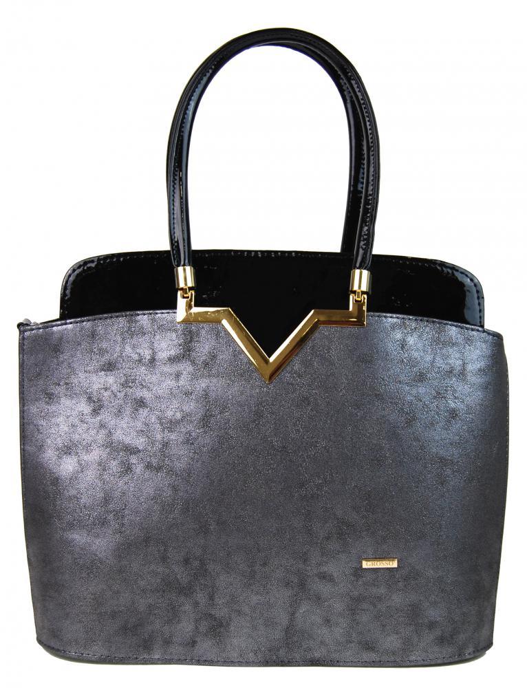 Čierno-strieborná elegantná kabelka S482 GROSSO
