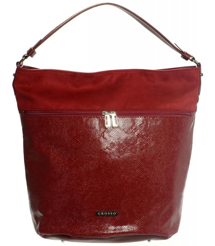 Červená kabelka na rameno v hadí kůži S616 GROSSO