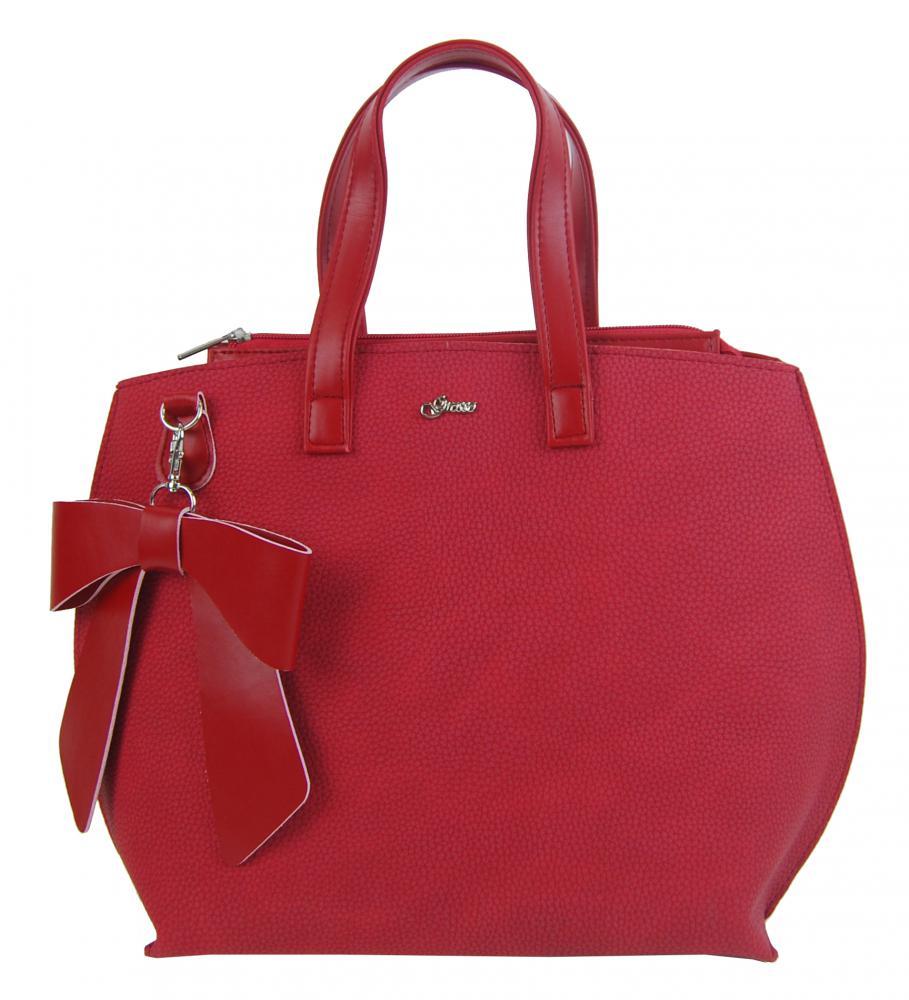 Červená dámska kabelka s mašľou S739 GROSSO