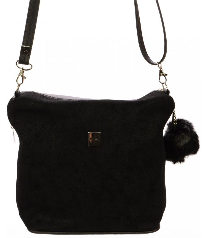 Čierna crossbody kabelka s kožušinou M207 GROSSO