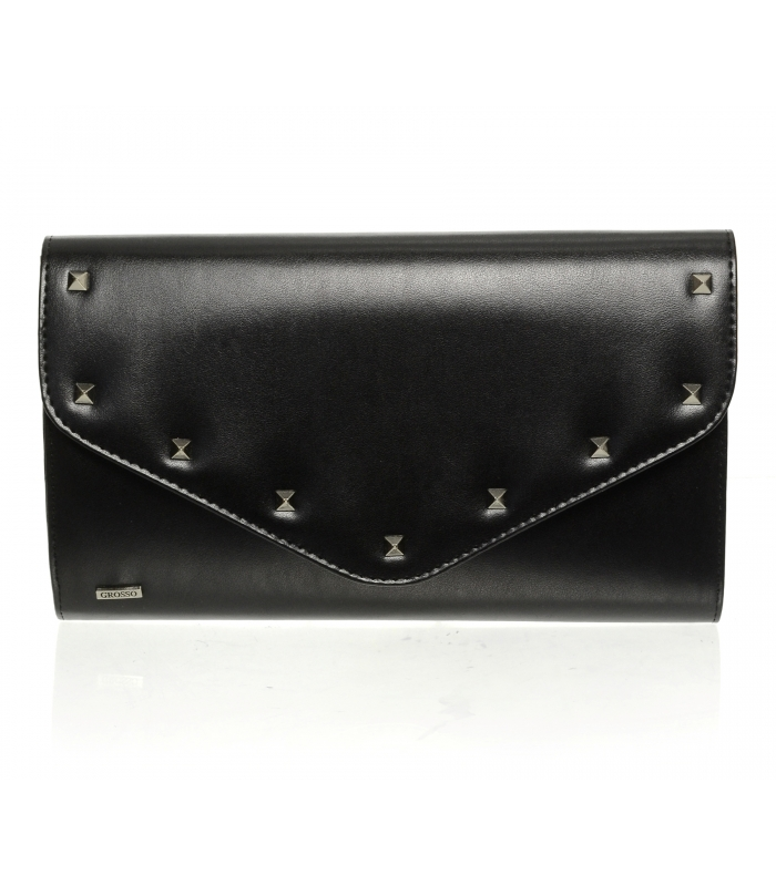 Čierna matná spoločenská listová kabelka s vybíjaním SP102 GROSSO
