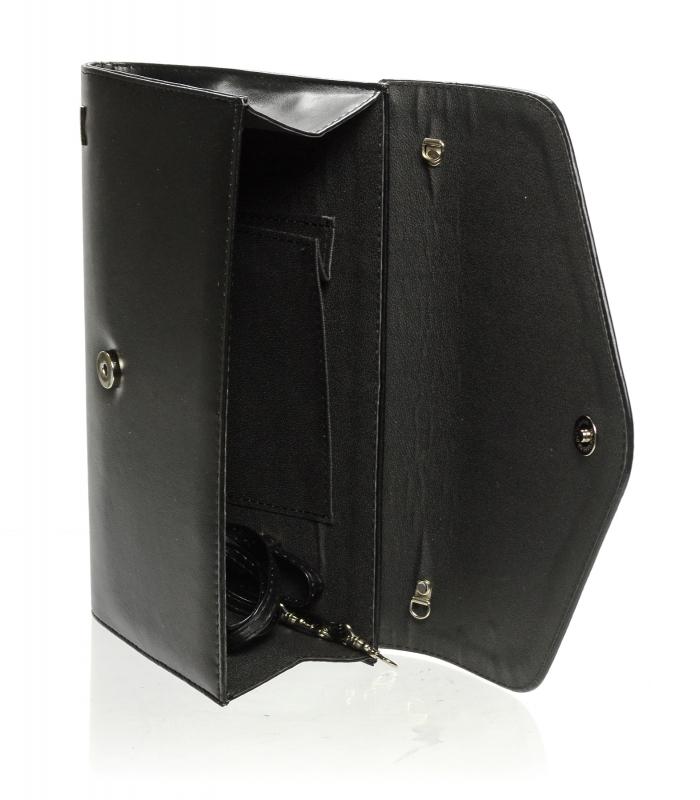 Matné černé dámské psaníčko s kovovými doplňky SP102 GROSSO